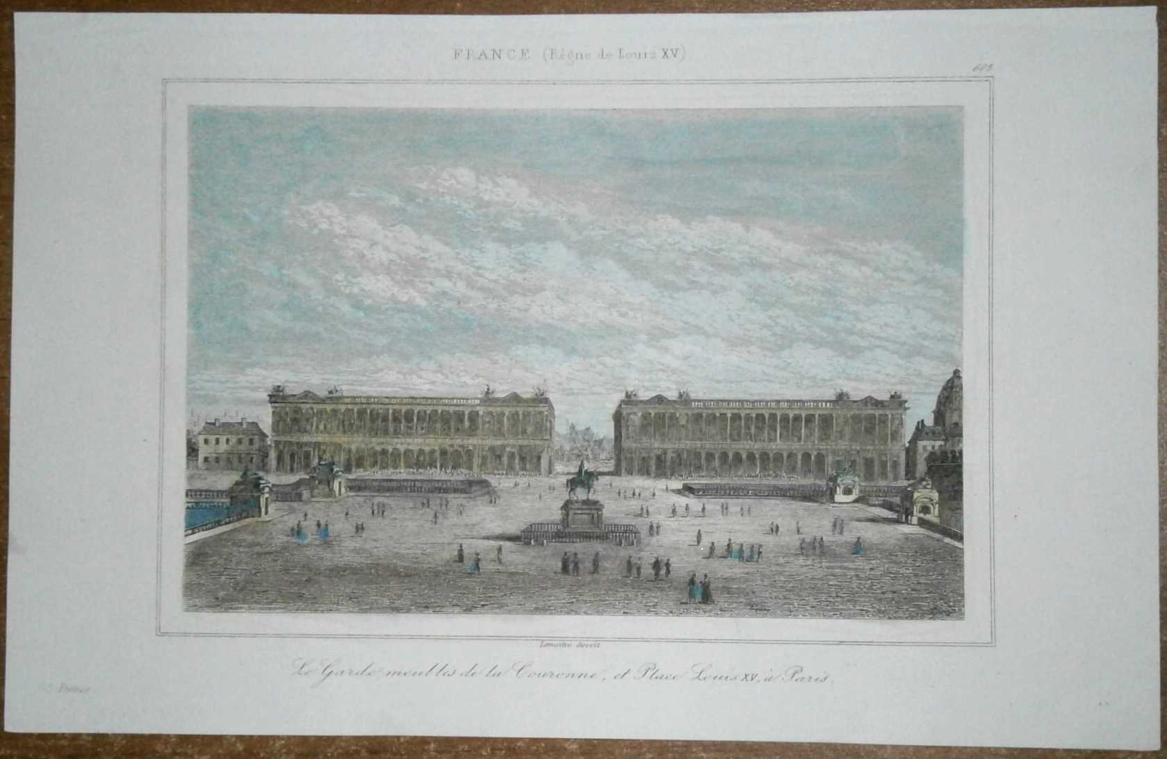 1845 print hotel de la marine hotel du garde meuble paris france 605 ebay. Black Bedroom Furniture Sets. Home Design Ideas