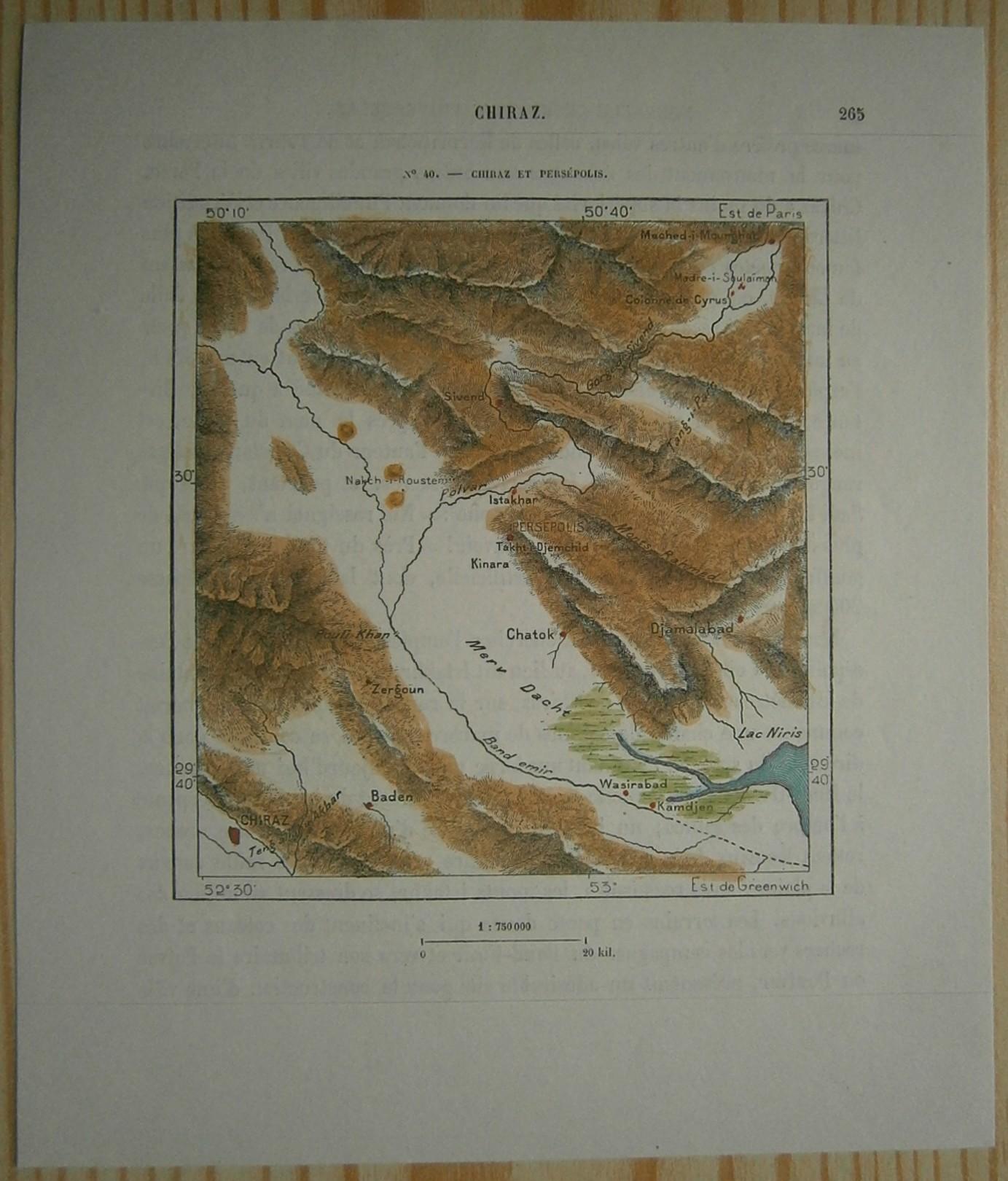 1884 Perron Map Shiraz And Persepolis Iran 40 Ebay