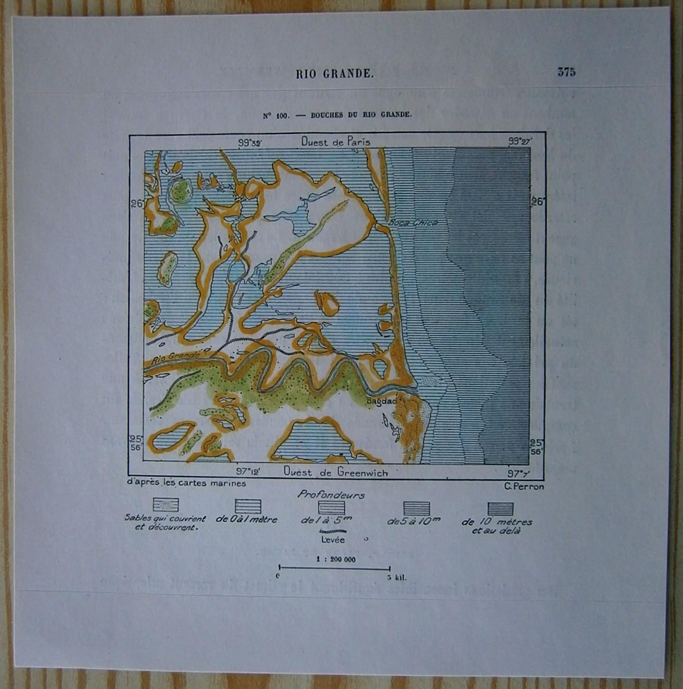 Rio Bravo Mexico Map.1892 Perron Map Mouth Of Rio Grande Texas Mexico 100 Ebay